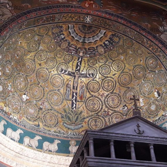 Medieval mosaic of the Cross in the upper level of San Clemente